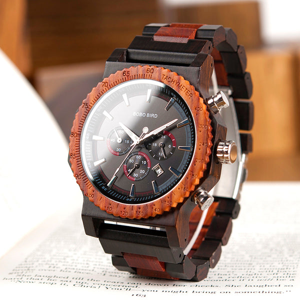 BOBO BIRD HANDMADE DOMINEERING DESIGN LARGE DIAL WOODEN WATCH