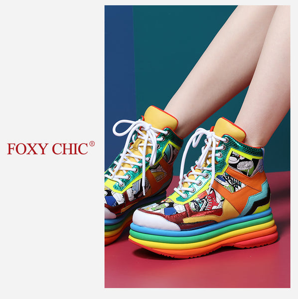 FOXY CHIC VENNES MAXCO CHUNKY PLATFORM LEATHER WOMEN'S SNEAKER BOOTIES - boopdo