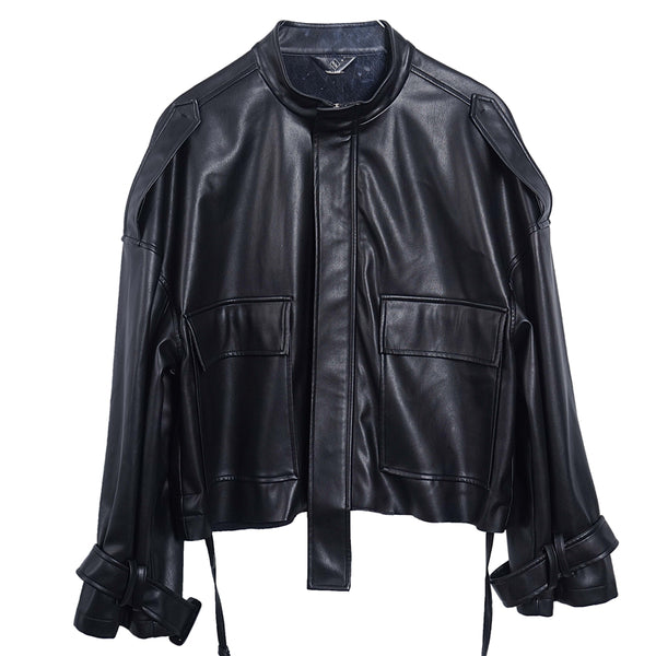 8GIRLS DESIGN OVERSIZE LEATHER JACKET WITH POCKET DETAIL - boopdo