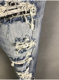 BOOPDO DESIGN AMR BADGE RIPPED WASHED DENIM JEAN PANTS IN BLUE - boopdo