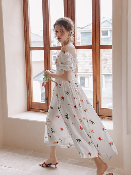 SINCE THEN SQUARE NECK MAXI TEA DRESS IN VINTAGE FLOWER
