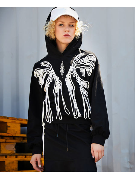 MAXMARTIN BLACK HOODIE WITH ABSTRACT LACE PATTERN - boopdo
