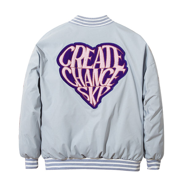 GRINCO STRIPO LOVE EMBROIDERED CASUAL BOMBER JACKET - boopdo