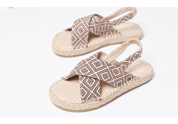 BOOPDO DESIGN CROSS STRAP SANDALS IN GEOMETRIC PRINT - boopdo