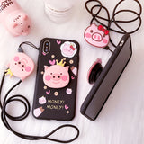 BABY PINKISH PIG CROWN APPLE IPHONE COVERS WITH CORD - boopdo