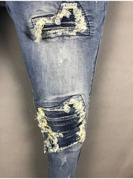 AMR LUXURY DESIGN RIPPED TASSEL WASHED DENIM JEAN PANTS IN NAVY - boopdo