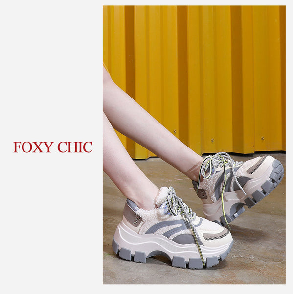 FOXY CHICK AISHA ROSE CHUNKY PLATFORM LEATHER CASUAL SNEAKER - boopdo