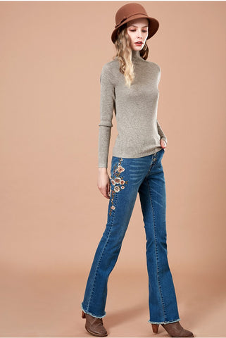 ARTKA EMBROIDERED HIGH RISE FLARE JEANS
