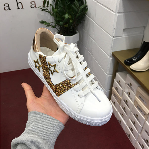 LUXE SEVEN DESIGN TRAINERS IN GOLD GLITTER - boopdo