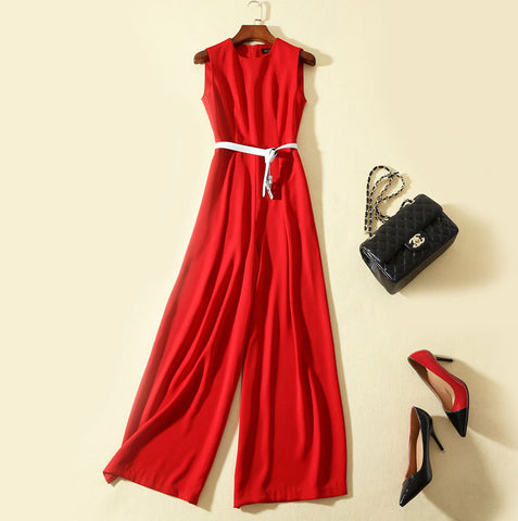 BBL DESIGN CONTRAST BELTED JUMPSUIT IN RED