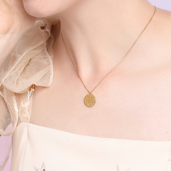 JELLY GIRL 18K GOLD PLATED LOVE YOU TO THE MOON AND BACK DISC PENDANT NECKLACE - boopdo
