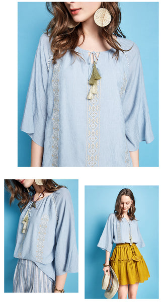 ARTKA EMBROIDERED TASSEL TIE BLOUSE IN BLUE