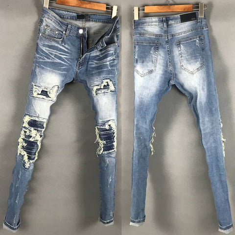 AMR LUXURY DESIGN RIPPED TASSEL WASHED DENIM JEAN PANTS IN NAVY