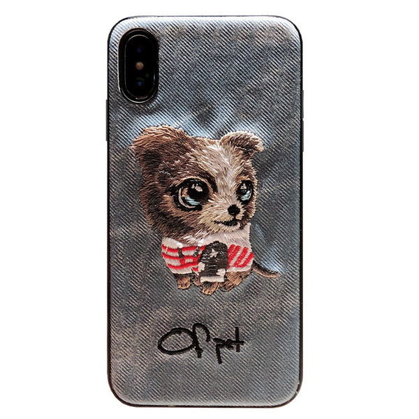 IPHONE X PUPPY EMBOSSED CLOTH PATTERN PHONE CASES - boopdo