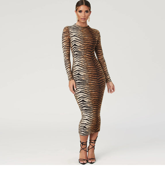 SHEMODA FRENCH STYLE LEOPARD TIGER SLIM WAIST PENCIL DRESS
