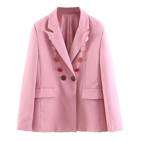 BOOPDO DESIGN EUROPLIA DOUBLE ROW BUTTON DECORATED JACKET IN PINK