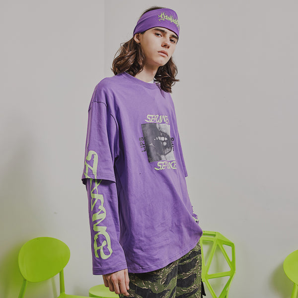 SEARING LIPS PRINT ABOW LIFE TWO PIECE CREW NECK PURPLE GREEN UNISEX SWEATSHIRT - boopdo