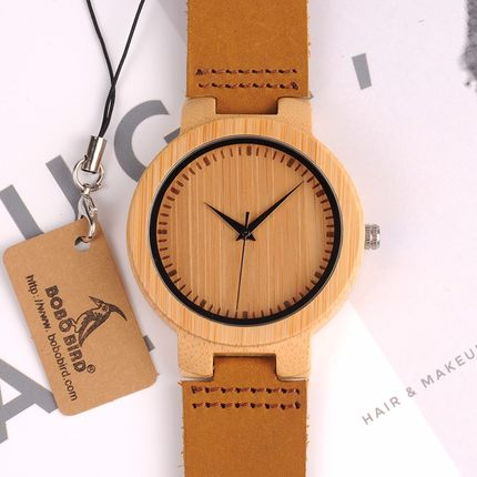 BOBO BIRD HANDMADE BAMBOO WOODEN ANTIQUE WATCH WITH LEATHER STRAP IN TAN