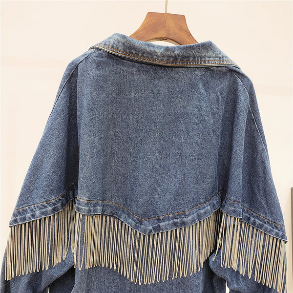 GIANA TRUANCY CHAIN TASSEL PENDANT DENIM JEAN WOMEN JACKET - boopdo