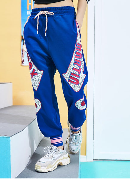 MAXMARTIN BLUE JOGGER PANTS WITH LOGO AND HEART PATCHED - boopdo