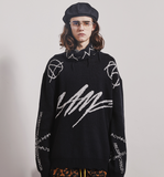 MAMC ABOW LIFE HIGH COLLAR TATTERED BIG LETTER CREW NECK SWEATER IN BLACK - boopdo