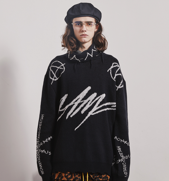 MAMC ABOW LIFE HIGH COLLAR TATTERED BIG LETTER CREW NECK SWEATER IN BLACK