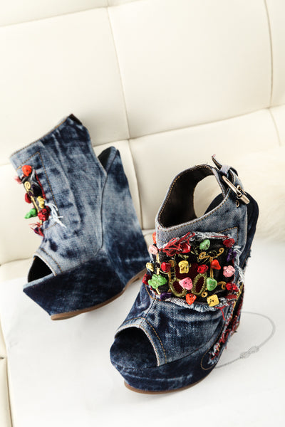 Loxpia washed denim jean wedged platform sandals