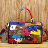 CAERLIFAB BOOPDO PATCHWORK DIAGONAL LEATHER HANDBAG IN MULTI COLOR - boopdo