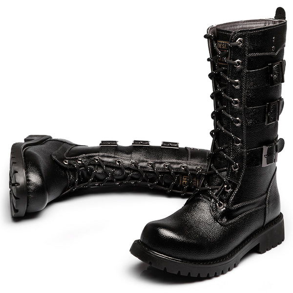 MARTEX PLUS VELVET WINTERIZED HIGH TUBE BLACK BUCKLED BOOTS - boopdo