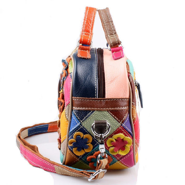 CAERLIFAB BOOPDO EMBOSSED FLOWERS LEATHER CROSS BAG - boopdo
