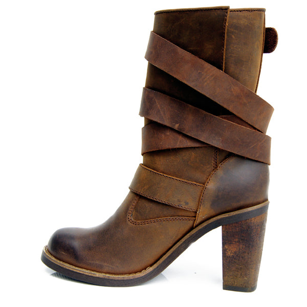PROVAPERFETTO WESTERN DETAIL BUCKLED LEATHER ANKLE BOOTS - boopdo