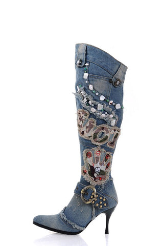 BOOPDO ARTISTIC DESIGN LUXILO WASHED DENIM JEAN KNIGHT BOOTS IN BLUE AND GRAY