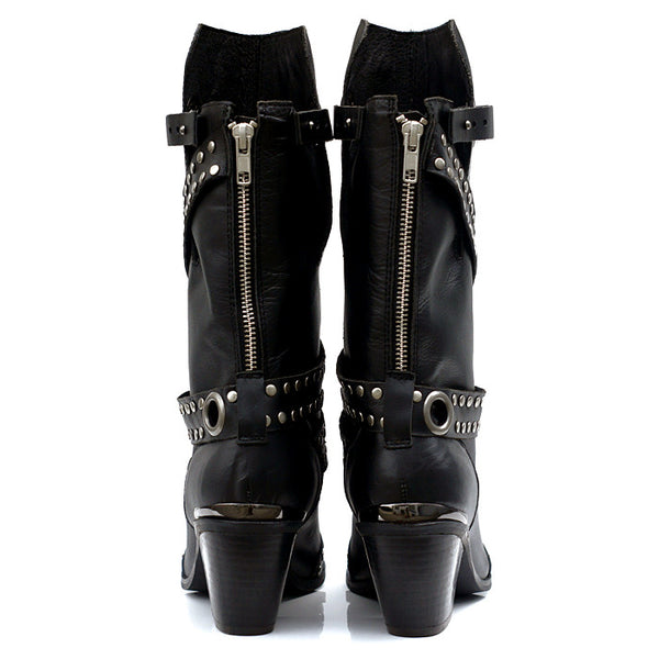 PROVAPERFETTO LEATHER WESTERN KNEE BOOTS WITH SILVER BUCKLES DESIGN - boopdo
