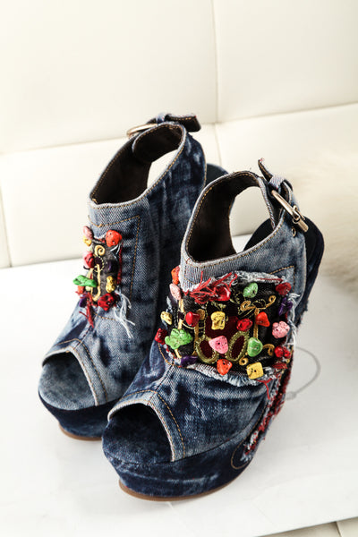 LOXPIA WASHED DENIM JEAN WEDGED PLATFORM SANDALS 12 CM