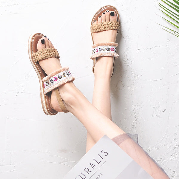 BOOPDO EMBELLISHED FLAT SANDALS WITH TASSEL TRIMS - boopdo