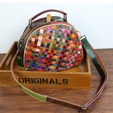 TRAPEZOIDAL SQUARE WOVEN SHEEPSKIN LEATHER SHOULDER BAG IN MULTI COLOR