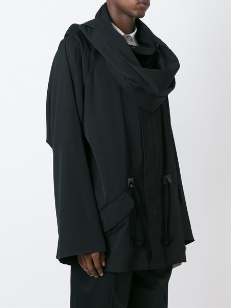 YOHJA CLAESON WINDBREAKER JACKET WITH DETACHABLE SCARF - boopdo