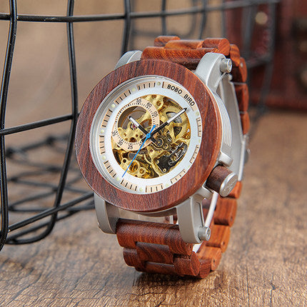 BOBO BIRD NORTH STEAMPUNK AUTOMATIC DIAL WOODEN WATCH