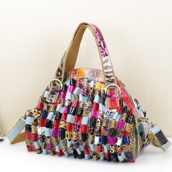 CAERLIFAB BOPLEXIA SNAKESKIN LEATHER HANDBAG IN MULTI COLOR - boopdo