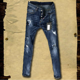 DSTWO PATCH HOLE RIPPED DENIM SLIM JEANS IN BLUE - boopdo