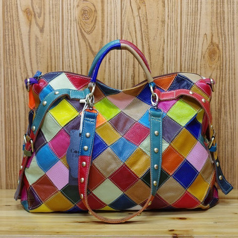 CAERLIFAB ALEXIMO PLAID COLORFUL SHOULDER BAG WITH RIVET