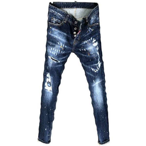 NIFTIA DSP SPRAY PAINT RIPPED HOLE LOW WAIST DENIM JEANS IN DARK BLUE - boopdo