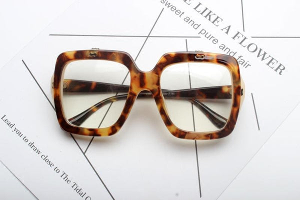 RECTANGLE LARGE FRAME TRANSPARENT SUNGLASSES - boopdo