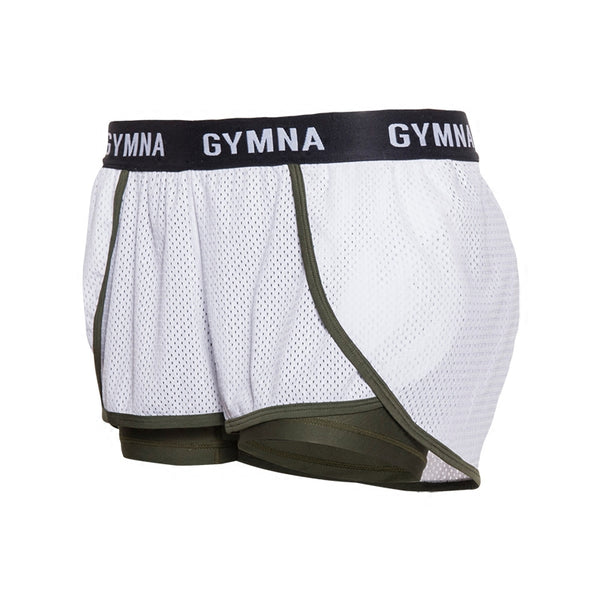 GYMNA TWO IN ONE MESH SHORTS IN WHITE