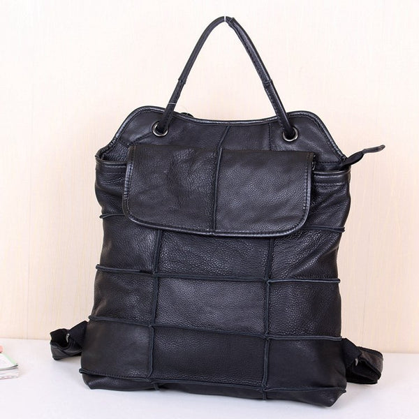BOOPDO FRENCH DESIGN LEATHER MULTI PURPOSE BACKPACK IN BLACK - boopdo