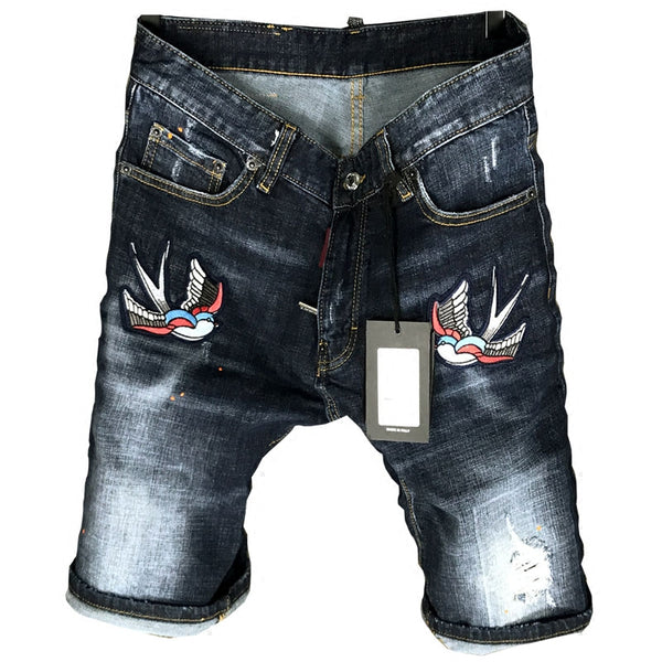 FLYING BIRD EMBROIDERY RIPPED LACQUER DENIM JEAN SHORT PANTS IN BLUE - boopdo