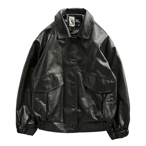 ALLO WOLF AIR FORCE PILOT PATCHWORK FAUX BLACK LEATHER JACKET