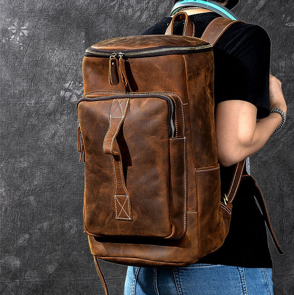 TWENTY FOUR STREET LARGE CAPACITY PORTABLE DUAL USE LEATHER TRAVEL BACKPACK IN BROWN - boopdo
