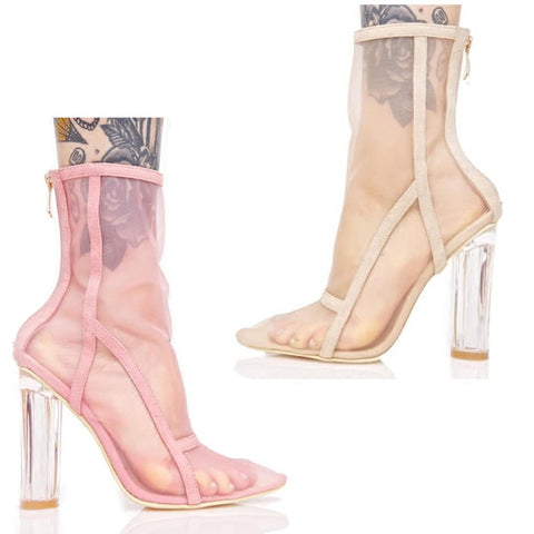 APOZLO ESSENTIAL MESH GOGGLE POINTED TOE TRANSPARENT HIGH HEEL SHOES