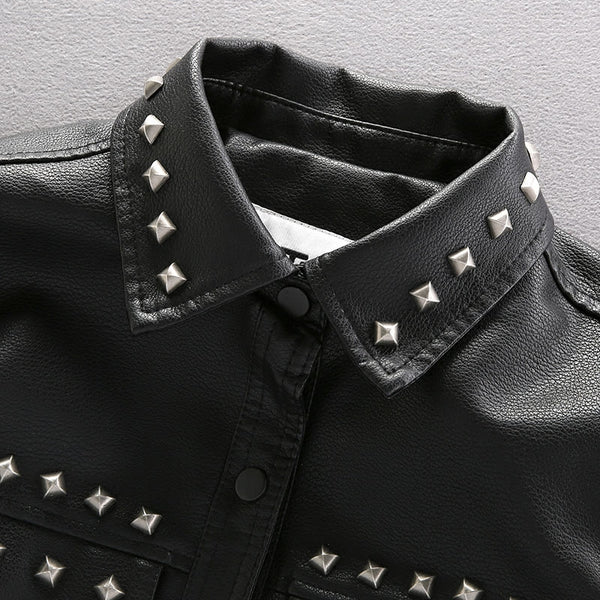 TUXAP PUNK MATERIAL CRAFT RIVET SYNTHETIC LEATHER JACKET